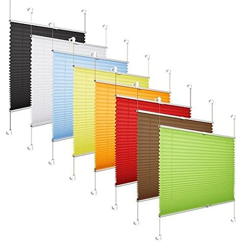 *AKTIONSPREIS* Plissee Klemmfix Fenster 50 cm Plissee Rollo Sonnenschutz ohne Bohren - Beige 90x130