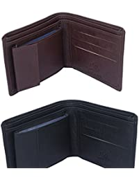 Combo Of Leather Wallet By Malana India - [ Leather Wallet ] By Malana [ Black/Brown ] - B078G1J7KF