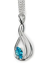 Elements: elegant curved pendant with blue topaz, Sterling Silver 925