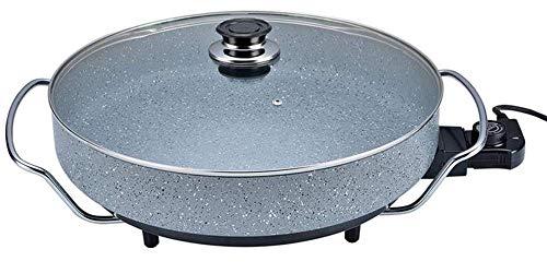 Ertex XXL Elektrische Pizzapfanne Elektropfanne Mit Marmor Granit Beschichtung nutzbar als Partypfanne, Multipfanne oder elektrischer Tischgrill, Verschiedene Größen (40x7 cm Rund ALUGUSS)