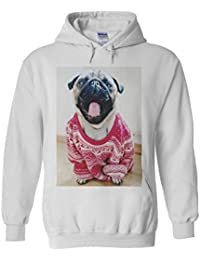 Pug Christmas Jumper Funny Novelty White Femme Homme Men Women Unisex Sweat à Capuche Hooded Sweatshirt Hoodie