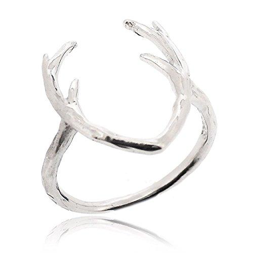 Sovats Damen Niedliche Hirsch-Ring 925 Sterlingsilber, Größe 54