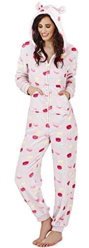 Hübsche Mädchen der Frauen mit Kapuze Super Soft-Flanell-Vlies All in One Macaron Print Strampelanzug, S-XL Makrone