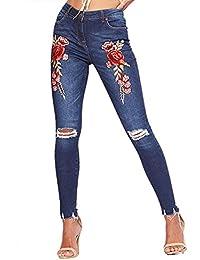 b8bb6245456da LAEMILIA Pantalons Femme Denim Jeans Slim Fit Taille Haute Broderie Imprimé  Vintage Leggings Sexy Collant Crayon