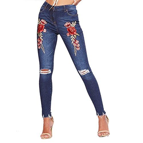 LAEMILIA Damen hohe Taille Blume gestickt Jeanshose Knöchel Skinny Bettler Jeans Bleistifthose