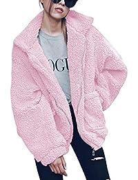 ECOWISH Damen Mantel Revers Faux Für Lose Langarm Outwear Tasche  Reißverschluss Winterjacke… 3e62d33d37