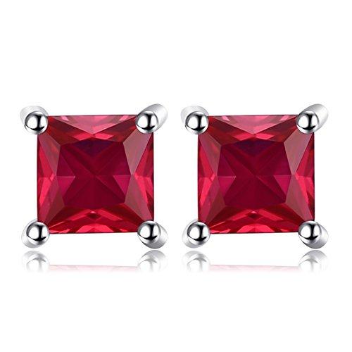 Jewelrypalace Quadrata 0.8ct Sintetico Rosso Rubino 925 Sterling Argento Stud Orecchini