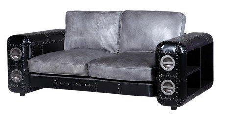 Sofa Nibe 2-Sitzer in Leder Silber und Schwarzblech - 5