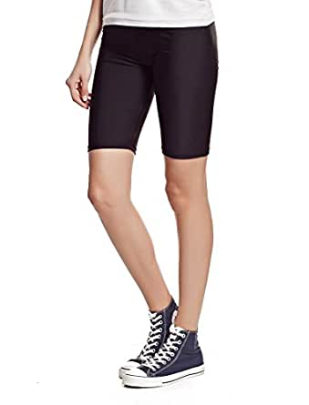 ELEGANCE LADIES CYCLING SHORTS LYCRA STRETCHY COTTON ABOVE KNEE ACTIVE SPORT EVERYDAY SHORT LEGGING(GIFT)(X-SMALL UK 6/8, Black)