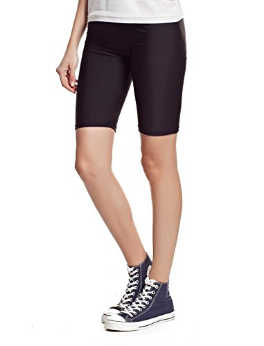 new-womens-stretchy-cotton-lycra-over-knee-short-active-leggings-large-uk14-40-black
