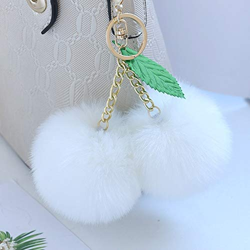 VAWAA Fashion New Cute Fluffy Faux Rabbit Fur Ball Pompom Keychain Cherry Gold Key Chain Keyring Bag Charms Hochzeits-Trinket -