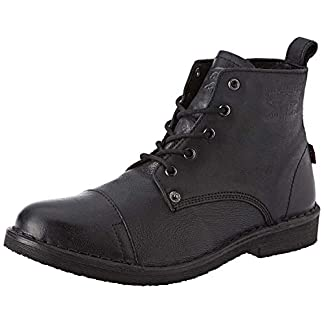 Levi's Track Black Mens Leather Mid Ankle Boots 15