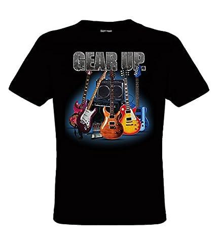 DarkArt-Designs Lifestyle T-Shirt Gear Up Guitar - Guitare T-shirt pour messieurs - motif de plaisir regular fit, Noir,