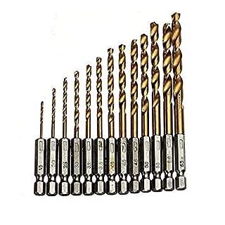 13Pcs/Lot Twist Drill Bit Hss Titanium Coated Drill Bit Set 1/4 Hex Shank 1.5-6.5Mm,Quick Change Metal Drilling Tool Woodworking