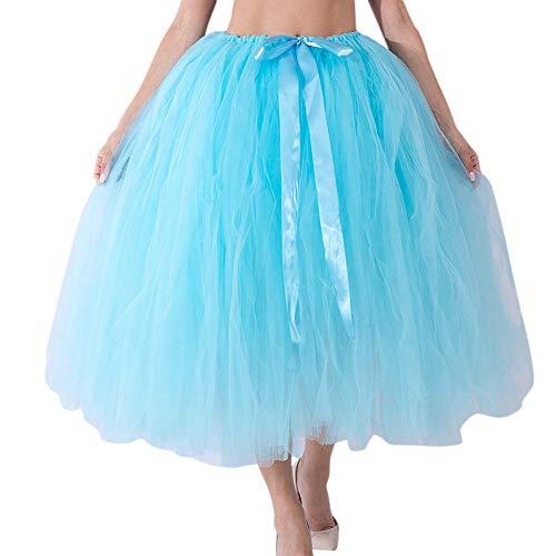 WOZOW Damen Tüllrock Lange Einfarbig Großer Rock Elegant Ballet Tanzkleid Multi-Schichten Frauen Karneval Halloween Kostüm Prinzessin Kleider ()