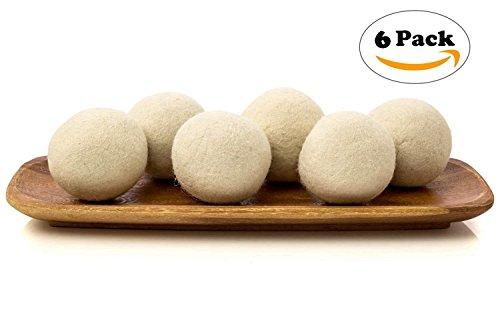 prochive Bio Eco Wolle Trockner Bälle, 6Stück Neuseeland Wolle Trockner Bälle Pure Bio Natural Weich Haushalt, Fair Trade, Bio, keine Fussel