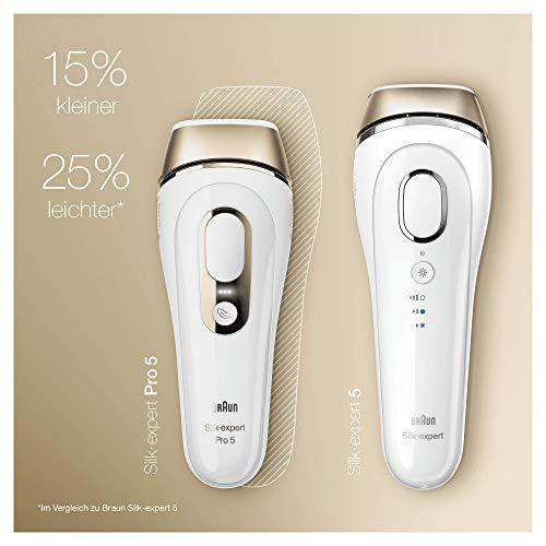 Braun Silk-Expert Pro 5 PL5137 IPL Haarentfernungsgerät für dauerhaft sichtbare Haarentfernung, für Körper und Gesicht, Präzisionsaufsatz für empfindlichere Bereiche, 400.000 Lichtimpulse, weiß/gold