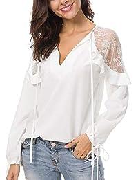 Y Otoño Tops Mujeres Moda Chic Encaje Chifón Camisas Camiseta con Vendas Sexy Mode De Marca
