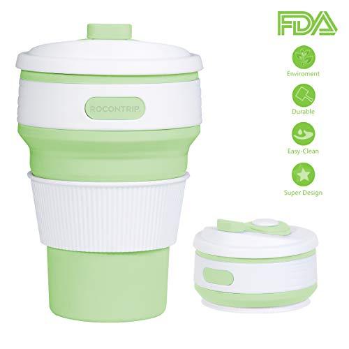 ROCONTRIP Faltbare Tasse, Silikon Becher Kaffee Camping Tasse Reise Geschenk Becher 350ml 100% Lebensmittelqualität Silikon BPA-frei geeignet für Outdoor-Aktivitäten Camping Wandern