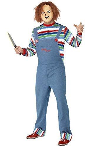 Kind Kostüm Chucky - Smiffy's Herren Kinder Play Chucky Puppe Halloween Kostüm - Groß