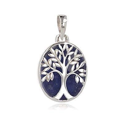 idée cadeau anniversaire maman-Cadeau bijoux symbole Arbre de vie-Pendentif-Lapis lazuli-Argent massif-ovale-unisexe