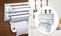 LUKZER 3-in-1 Kitchen Triple Paper Dispenser & Holder for holding Tissue Paper Roll, Aluminum Foils and Plastic Wrap Films / Cling Film ,White