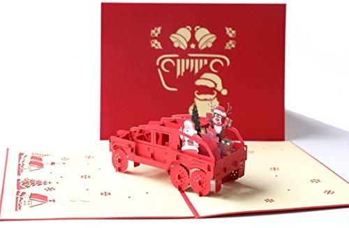 BC Worldwide Ltd handgemachte 3D-Pop-up-Weihnachtsgrußkarte Weihnachtsmann Rentier immergrünen Nadelbaum Hummer Auto eine Fahrt geben