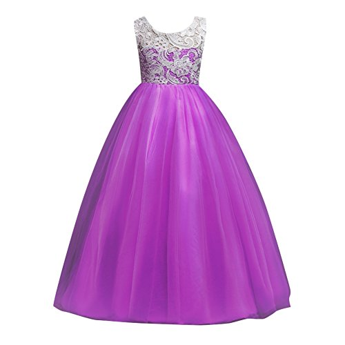 Hougood Girls Prom Dresses Princess Dress Birthday Weddings Party Fancy Dress Ceremony Formal Dresses Lace Tulle Evening Gowns Age 5-16 Years Kids Full Length Maxi Dress Summer Dress
