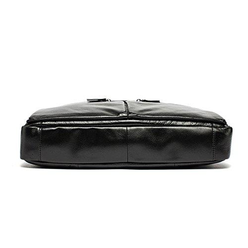Gendi Herren Leder Aktentasche 14 Zoll Laptop Tasche Handtasche Messenger Schultertaschen (Braun) Kaffee