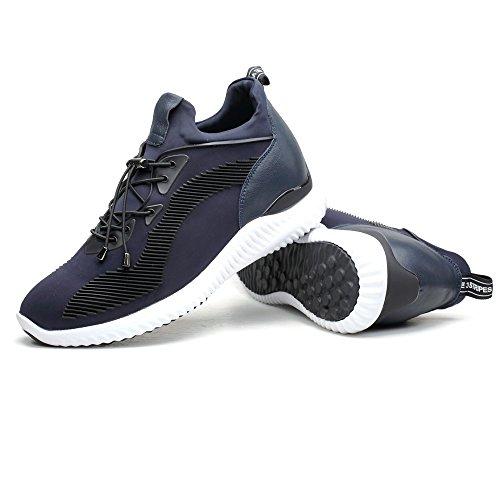 CHAMARIPA-Aufzugs-Turnschuhe Sport-beiläufige leichte Schuhe mit versteckter anhebender Ferse für Mann Schwarzes Blau Grau -7cm Taller-H71C62V012D Blau