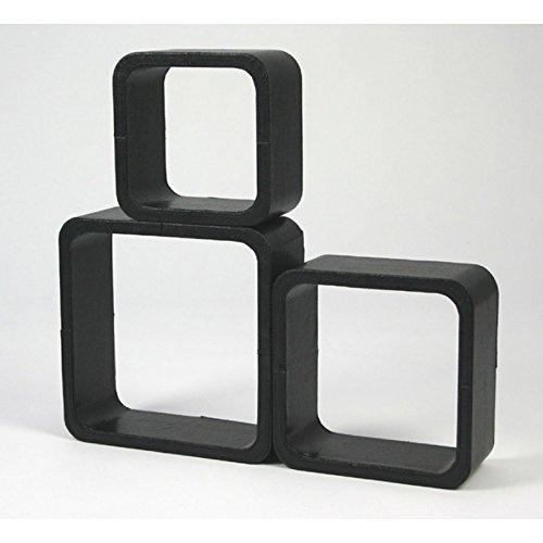 Lot de 3 étagères cubes murale rangement noir ETA06002