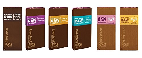 Preisvergleich Produktbild LOVECHOCK Tafeln Set 6x 70g Kakao Pur 93%,  Blaubeere & Hanfsaat,  Kakaonibs & Meersalz,  Mandeln & Baobab,  Mylk Cranberry & Buchweizen,  Mylk Mandel & Maulbeere (roh bio vegan) Rohschokolade 6er-Set