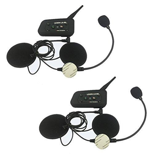 LEXIN LX-A4 Bluetooth Motorradhelm Communicator Headset, Gegensprechanlage bis 4 Fahrer, 1000 Meter Reichweite, mit Fernbedienung
