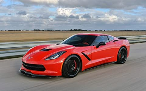 "Classic und Muscle Car-Anzeigen und Auto Art Chevrolet Hennessey Corvette Stingray hpe700 Twin Turbo (2014) Auto Art Poster Kunstdruck auf 10 mil Archivierung Satin Papier, Rot Vorderseite Motion View, Papier, Red Front Side Motion View, 17"" x 11"""