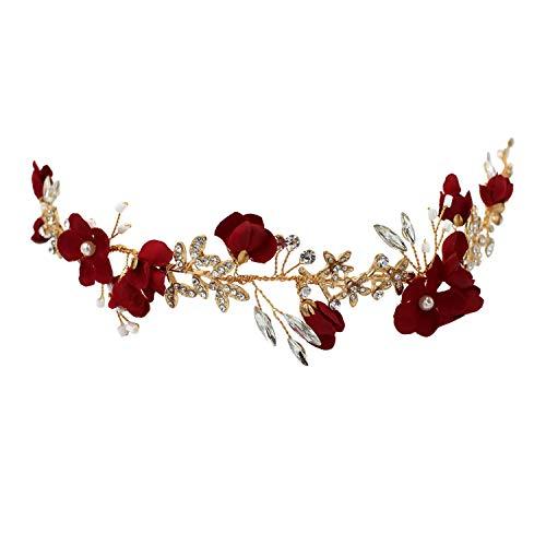 (Luckycs Roter Stoff ethnischen Wind Braut Kopfschmuck glänzend Strass Blatt Braut Hairband Brautjungfer Haarschmuck Geburtstagsfeier)