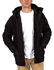 Element Herren Jacke Lenox, hochwertiger Leinenparka mit Wachs beschichtet,wasserabweisende und atmungsaktive Winterjacke, herausnehmbare Innenjacke