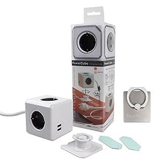 Allocacoc PowerCube 2 x USB Port 5V/2.1A mit 4 Verteiler 3M Verlängerungskabel Power Strip Steckdose 230V Schuko, Grau + 360° drehbare Ringhalterung Halterung / Ständer für Handy