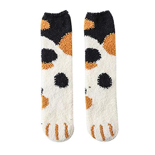 GNYD Damen Kuschelsocken Arbeiten Reizende Katze Greifer Korallen Verdickungs Thermal Wintersocken Flockige Mittlere Strumpf Socken