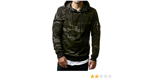 a9c5acce4f9 WQ EnergyMen Men s Fashion Camouflage Leisure Plus Size Sweater Hoodie Top  Green 2XL  Amazon.in  Clothing   Accessories