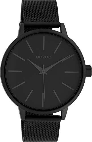 Oozoo Damenuhr mit Edelstahl Milanaise Metallband 42 MM Black/Schwarz/Schwarz C10009