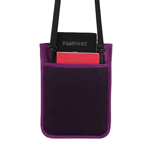 Genda 2Archer Nylon Reise Sicherheit Nackentasche RFID Blocking Versteckte Tasche für Pässe Handys Kreditkarten ID und Cash (Lila) Lila