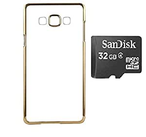 D'clair Combo of Golden Border Transparent Back Case Cover and 32GB SD Card For Samsung Galaxy J5