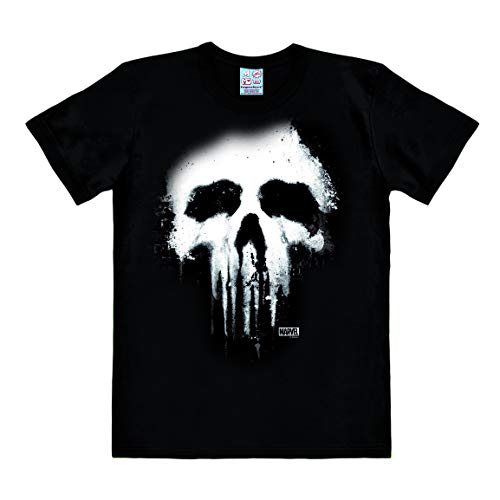 Easy Fit Shirt (Logoshirt - Marvel Comics - Punisher - Skull - Easy-Fit - T-Shirt Herren - schwarz - Lizenziertes Originaldesign, Größe 5XL)