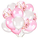 Howaf 50 Pièces Latex Ballons baudruche Confettis Ballons Rose Blanc Ballons...