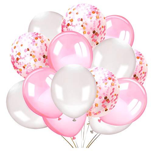 Howaf 50 Stück 12 Zoll Rosa und weiße Latexballons Luftballons Konfetti Ballons Heliumluftballons Partyballon für Hochzeit Geburstagsdeko, Babyparty Deko,Valentinstag deko