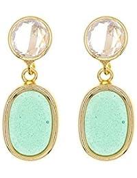 Córdoba Jewels | Pendientes en plata de Ley 925. Diseño Duo Rosa de Francia Esmeralda