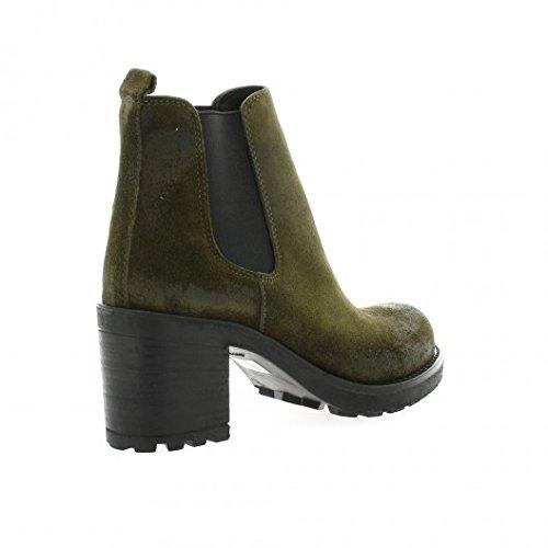 Pao Boots cuir velours kaki Kaki