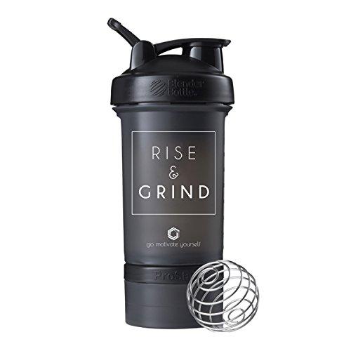 Rise und Grind Blender Bottle ProStak, Klauenhammer Protein Shaker Cup mit Twist N 'Lock Frischhalteboxen, schwarz