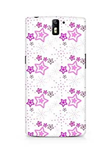 Amez designer printed 3d premium high quality back case cover for Oneplus One (Star pink surface texture)