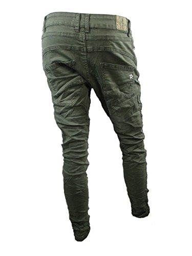 78e7d0e67781 Lexxury Baggy Boyfriend Damen Stretch Hose Jeans offene Knopfleiste front  Zip Khaki
